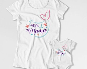 Mother Daughter Gift Matching Outfits Mom And Daughter Shirts Family T Shirts Mom And Baby Clothing Mermaid Mer Mama Mer Mini TEP-222-223