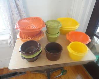 Choice of servalier  orange, yellow, and green;  vintage tupperware  food storage , lunch uttensils