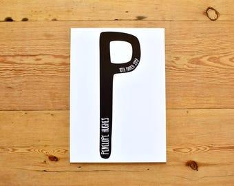 Personalised Inital Print / Modern Nursery / Monochrome Print / Black and White Print