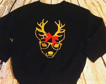 hipster reindeer christmas jumper