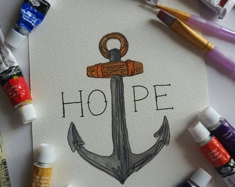 Anchor/Hope Illustration & Watercolour Painting Print in A5