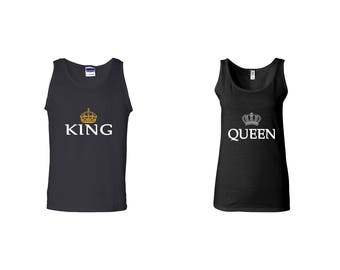Valentine Gifts King Queen COUPLE Printed Adult Tank Tops Unisex  Tops for Men Women Best Seller Matching Clothes