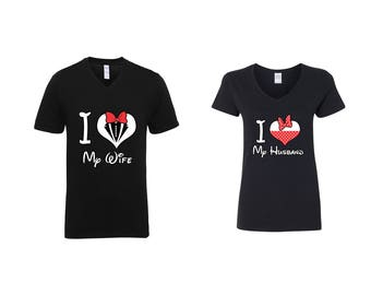 Valentine Gifts Disney Mickey Mouse I love My Wife / Husband COUPLE Printed Adult V Neck Shirts Unisex VNeck T-Shirts for Men Women Matching