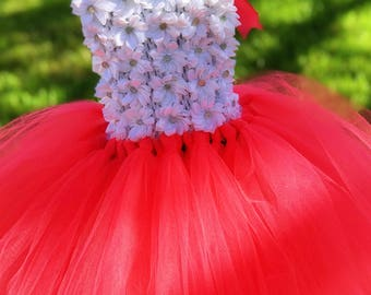 Coral Floral Flower Girl Tutu Dress
