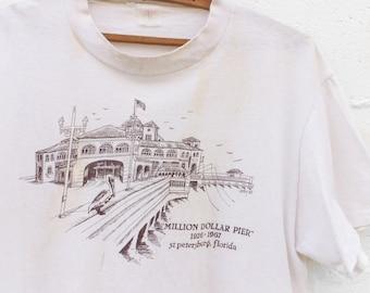 "MED-LRG   Trashed Souvenir Tee St. Petersburg, FL ""Million Dollar Pier"""