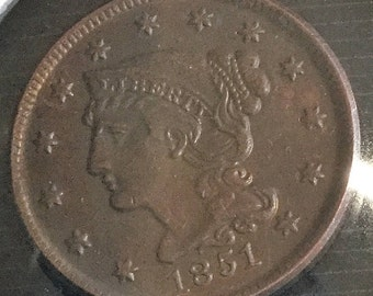 1851  LARGE Cent 100% Copper Coins   very nice appearance, and Guaranteed