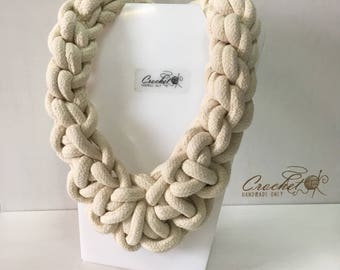Knot cotton rope chunky necklace White woven statement big jewelry Bohemian modern fiber nautical rope textile necklace Valentines lady gift