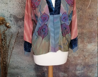 Painted roses silk kimono,haori,jacket,ombre colours,hand painted pure silk,devore silk velvet,bespoke,wearable art.