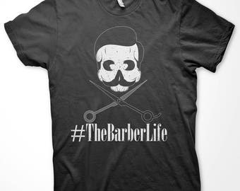 The Barber Life #TheBarberLife Barber Shop Skull Men's T-shirt