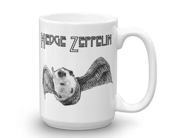 Hedgehog Rock 'n Roll Mug - Hedge Zeppelin Hedgie Metal Mug of The Ages by Urchin Wear