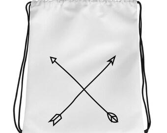 arrows bag, minimalist bag, simple bag, drawstring bag, arrow design, gift for him, traveller gift, gift for travel, travel lover