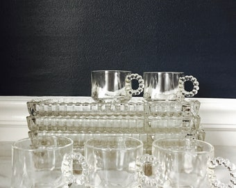 """Set of 5 Vintage Hazel Atlas """"Snack Sip Smoke"""" Trays with Cups 