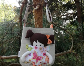 Girls handbag with a doll - butterfly.