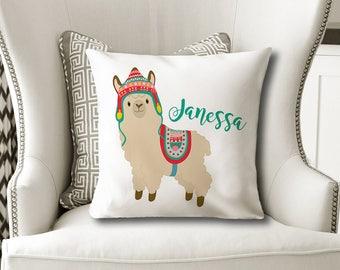 LLAMA PILLOW, Girl Name Pillow, LLAMA Nursery Decor, Llama Birthday Gift, Llama Bedroom, Girl Pillow Cover or With Insert