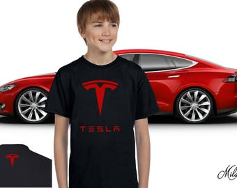 Tesla Youth Shirt, Tesla Motors Youth Tee Shirt, Tesla High Quality Unisex Youth T-Shirt