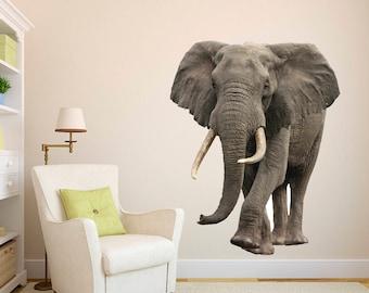 Elephant Wild African Safari Wall Decal   Elephant Wall Mural 3D Realistic  Elephant Wall Art   Part 72