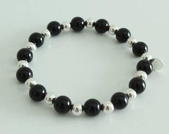 Elastic Bracelet Onyx 8mm and 6mm 925 Silver balls