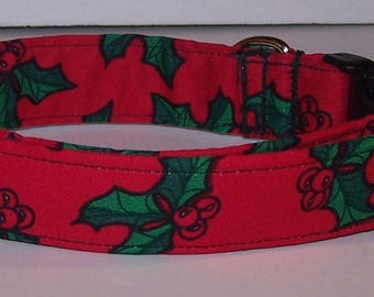Bright & Colorful Christmas Holly and Berries Dog Collar on Red Winter
