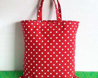 Polka Dot Tote Bag, Shopping Bag, Grocery Bag
