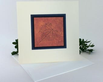 Leaf outline on copper blank card, individually handmade: square, notecards, fine cards, SKU BLSQ1002