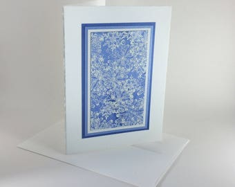 Swirling snowflakes on blue embossed blank card: A7, notecards, fine cards, winter, SKU A71011