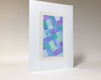 Birthday card: quilt design individually made from hand-painted paper, not a reproduction, A6, SKU BRA61003