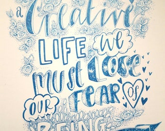 Creative Life quote - a4 print from original hand lettered artwork
