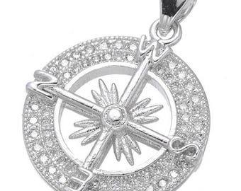 Compass Charm Pendant, Travel Charms, Pave Compass Pendant, Silver Compass Charm, Platinum Compass Pendant    (1-2)