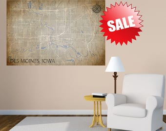 Des Moines Iowa Canvas IA Wall Office Decor Vintage Cream Canvas Map USA Map Print Poster Wall Art City Street Map Print Nursery Room Art