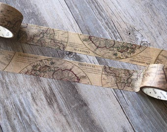 Ancient World Map Washi Tape,Gothic Maps tape,Retro Globe Japanese Washi Masking Tape, Travel Journal tape
