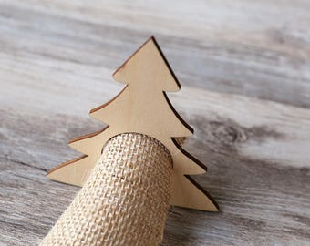 Christmas Tree Wood Napkin Rings,unfinished wooden ornament decorations,DIY Crafting Wooden stag head