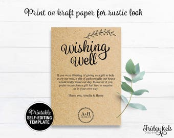Wishing Well Editable Template, Wedding Card, Editable Printable Wedding PDF, Instant Download, W02