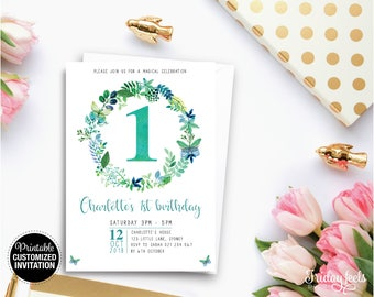 Butterfly Floral Wreath Customised Birthday Invitation, Custom Printable Birthday Invite, Floral Birthday, Personalised Printable Invite