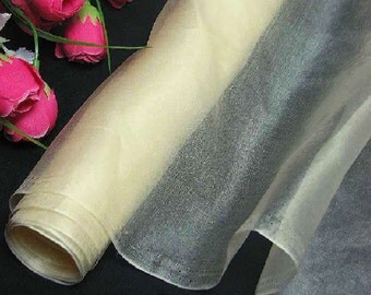 Silk Organza Fabric CREAM Pure Natural Silk Material for Wedding Bridal Dress (za-815n X Yards /Meter or samples)