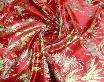 stunning Gold Bamboo on  Red Chinese Brocade Silk Fabric Motif 29 inch W, By The Yard or Metres or Samples GP-605