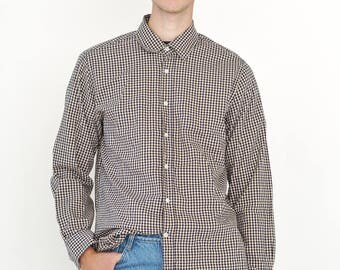 VINTAGE Dark Blue RESERVED Checked Long Sleeve Button Downs Retro Shirt