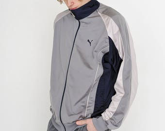 VINTAGE Grey PUMA Lightweight Shell Retro Tracksuit Jacket