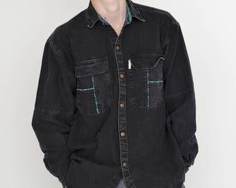 VINTAGE Black Denim SHAN MARINO Long Sleeve Button Downs Retro Shirt