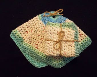 Cotton Hot Pad SET, Cotton Pot Holder, Hot Pad, Cotton Bath Cloth, Eco-Friendly, 100% USA Cotton, Under 30, Hostess Gift