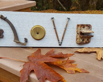 LOVE - repurposed hardware sign on wood
