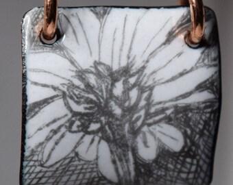 Enameled Flower Sketch Pendant