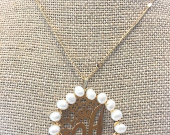 Initial Necklace with Pearls