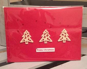 5x Christmas Cards: Three tree line