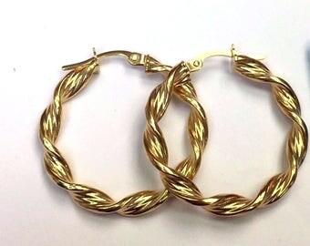 """14k solid yellow gold swirly hoop earrings(2.7gr/1""""inch)"""