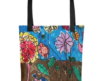 Spring Flower Garden - Amazingly beautiful full color tote bag with black handle featuring children's donated artwork.
