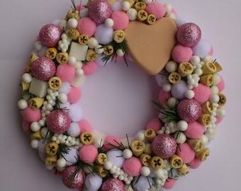 Wreath, Front Door Wreath Xmas pink white
