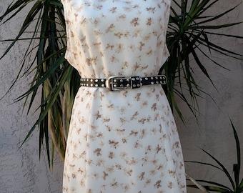 1990's cream dress, floral, empire waist, scoop neck, sleeveless, knee length, vintage