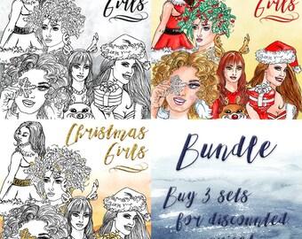 Christmas Girls Clip Art | Hand Drawn Graphics | Illlustration, Digital Cliparts | Girl Clip Art | Watercolour Clip Art | Bundle