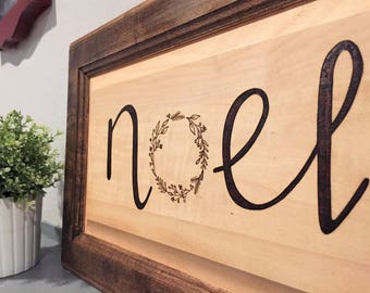 Noel Wood Sign, Christmas Sign, Wreath Sign, Calligraphy Sign, Wood Burning, Pyrography, Rustic Sign, Quote Sign