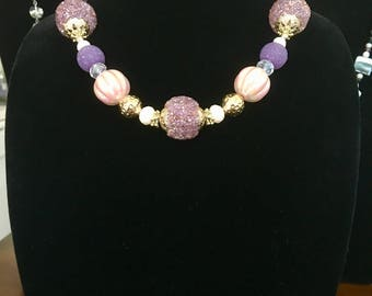 "21"" Purple/Pink Beaded Necklace"